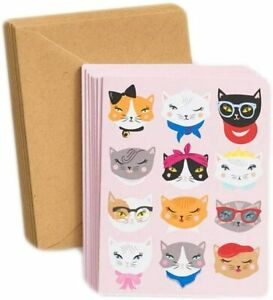 "Cat Faces Catitude Note Cards Box of 10 Cards with Envelopes 4.5"" x 5.5"""