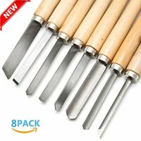 8pcs Wood Lathe Chisel Set Turning Tools Woodworking Gouge Skew Parting Spear HX
