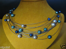 PEARL NECKLACE STRAND STRING BLUE WHITE SS STEEL WIRE GIFT HONORA Graduation Day