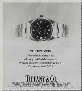 1978 Rolex Explorer Chronometer Tiffany & Co  330ft Depth Watch Vintage Print Ad