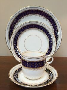 19th Century English Cobalt Blue & Gold 4 Pc Place Setting Coffee & Saucer (A)