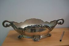 Vintage Art Nouveau French polished pewter jardinaire. Depose #B25 planter pot