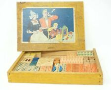 Vintage German WOOD BUILDING BLOCKS with Finger Jointed Box Childrens Toy Set