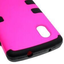 TPU Inner Plastic Outer Cover Hybrid Case for LG Google Nexus 5 - Pink Black