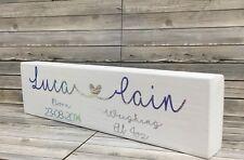 personalised wooden nursery plaque. Christening/announcement Baby Gift Keepsake