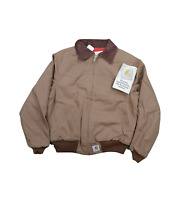 NOS Vintage 90s Carhartt Mens Large Spell Out Quilt Lined Jacket Duck Brown USA