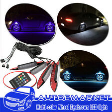 4x Car Fender Wheel Eyebrow LED Light Multi-Color Decor Flash Lamp Ambient Light