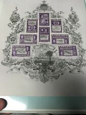 Liberia C69a Souvenir Sheet Stamps MNH OG SZYK all in Purple Color Trial Rare