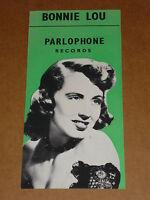Bonnie Lou 1953/56 Parlopphone 45/78 Records Flyer