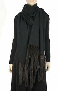 Mink Tail XXL Black Wool Knit Fringed Wrap Shawl 108 x 26