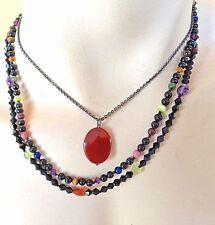 Carnelian Sterling925 Layered-Multi-Color Semi Precious Necklace-Design By Dana