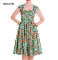 HELL BUNNY Pinup 50s Dress SASHA Love Skull Sugar Blue All Sizes