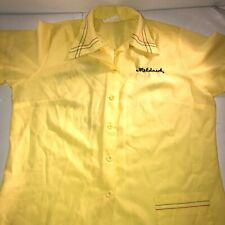 vtg 50's 60's Usa Made Usa Yellow Bowling Shirt Unbranded Mildred Embroider
