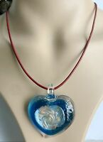 100% Handmade heart Lampwork Glass Murano Bead colors gold Pendant Necklace