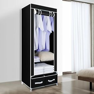 Black Canvas Wardrobe With Clothes Hanging Rail Shelves Storage With 2 Drawers