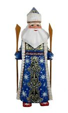 Wooden Santa on SKIS Hand Carved/Painted #1021 in Blue