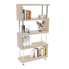 5 Tier S-Shaped Bookshelf Bookcase Shelf Storage Wood Furniture for Home Office