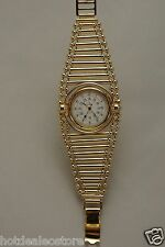 Very Unique Ladies Visage Gold Tone Watch - French Movement - Designer Bracelet
