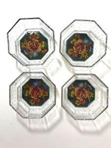 Set of 4 MACKENZIE CHILDS Octagonal Glass Bowls Garland Floral  Dots