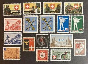 SWISS SWITZERLAND EUROPE OLD POSTER STAMP MILITARY UNIT SQUADRON CINDERELLA LOT