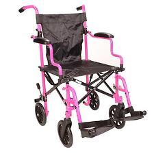 Pink Ultra Lightweight Folding travel compact aluminium wheelchair in a bag
