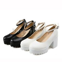 Ladies Womens Platform High Chunky Heel Ankle Strap Party Court Shoes Plus Size
