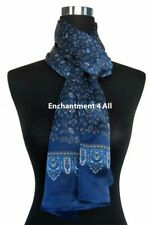 Double Layer 100% Silk Satin Paisley Neck Scarf Wrap, Navy Blue