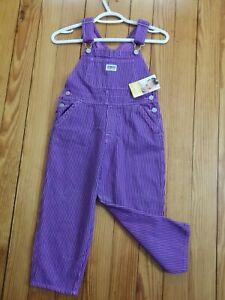 OshKosh Bib Overalls Girls Size 5 Pink Purple PINSTRIPES Pockets NWT New