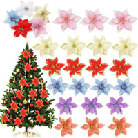 5/10pcs Artificial Flowers Xmas Tree Hanging Ornaments Wreath Christmas Decor