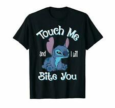 Lilo And Stitch Touch Me And I Will Bite You Stitch Funny Black T-Shirt For Fans