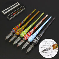 Creative Crystal Glass Dip Pen Signature Filling Ink Fountain Pens With Gift Box