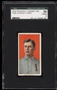 1909-11 T206 Charley Carr Portrait Piedmont 350 Indianapolis SGC 50 4 VG - EX
