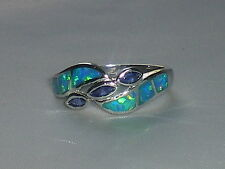 Ladies Handmade 925 Solid Fine Silver 3 Stone Tanzanite and Opal Eternity Ring