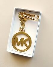 New Michael Kors Signature Charm Key Chain/Ring Gold with Gift Box