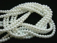 "White 6mm Glass Pearls beads WOW 30"" strand"
