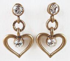£25 Boho Nautical Gold Clear Heart Drop Earrings Swarovski Elements Crystal