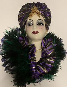 Unique Creations LTD Edition Fancy Porcelain Mask Retro Woman Feathers