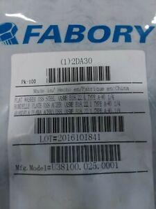 Flat Washer USS Steel 1/4 (1) sealed PKG of 100 pc. Fabory brand, Grainger