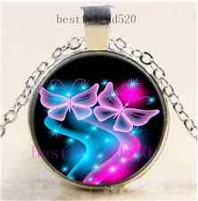 Fluorescent Butterfly Cabochon Glass Dome Silver Chain Pendant Necklace