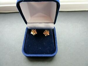 Beautiful Solid 9ct Rose Gold Stud Earrings In Good Condition And Boxed