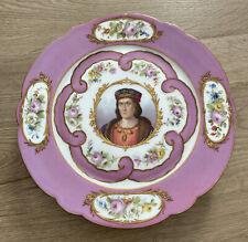 """Antique French Sevres? Porcelain Louis IX Painted Portrait 8 7/8"""" Tray Plate"""