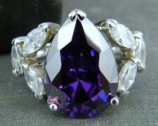 Signed FAS Purple Pear Cocktail Ring in Sterling Silver