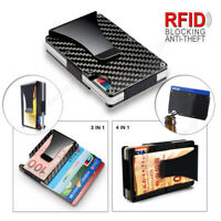 Metal Slim Carbon Fiber Credit Card Holder RFID Blocking Wallet Money Clip Purse
