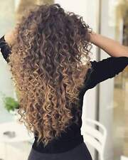 Long Synthetic Ombre Blonde Afro Curly Wig for Women African Hairstyle Wigs+Cap