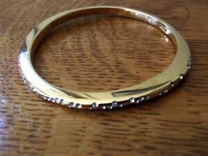 Signed Swarovski Swan Bangle Bracelet Rose Gold Plated Clear Crystals