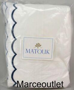 Matouk India Cotton Percale FULL / QUEEN Duvet Cover White / Hazy Blue