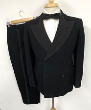 Vtg 1940s Tuxedo 36 S Xs ~ Minty Double Breasted Wedding suit jacket pants Black