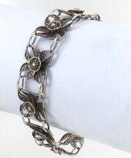 Womens Antique Ladies Sterling Silver Filigree Flower Bracelet 7in 9.3g H503