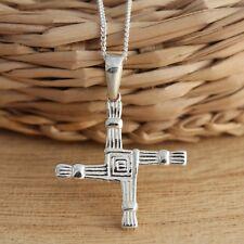 Solid 925 Sterling Silver St Bridgets/Brigids Celtic Cross Pendant Jewellery