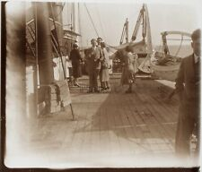 Sur le bateau Paquebot Le Lotus Tonkin France Photo L2 Plaque Stereo c1930